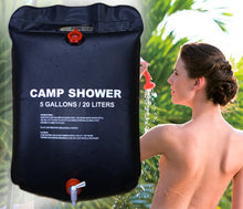 Load image into Gallery viewer, Outdoor Shower Water Bag Portable 20L 5 Gallon Shower Bag Camping Hiking Solar Heated Shower Bathing Bag Wonderful Travel Kits