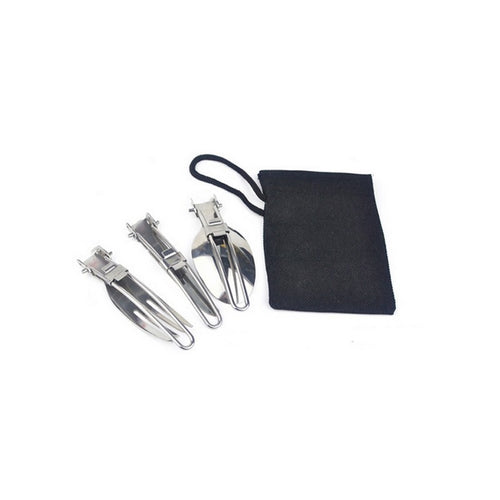 Utensil Set - 3 piece fold-able Stainless steel