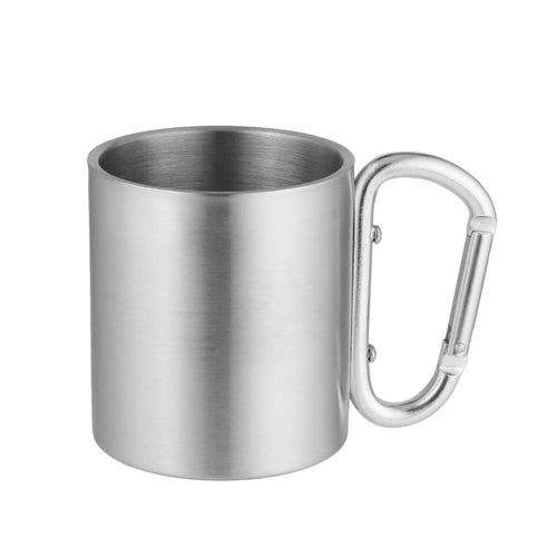 6oz Stainless Steel Double Wall Mug with Carabiner Handle