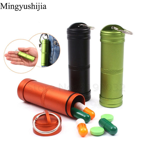 Hike gear Outdoor Can Pill Bottle Tank Box Bushcraft Keychain Waterproof Container EDC Emergency Survival Hunt Travel Camp Tools