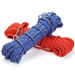 Professional Climbing Rope High Strength Cord Safety climbing carabiner Hiking Accessory 10mm Diameter 3KN Striped Buckle10-30m