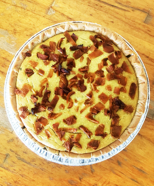 "Savory Coconut ""Bacon"" Vegan Quiche"