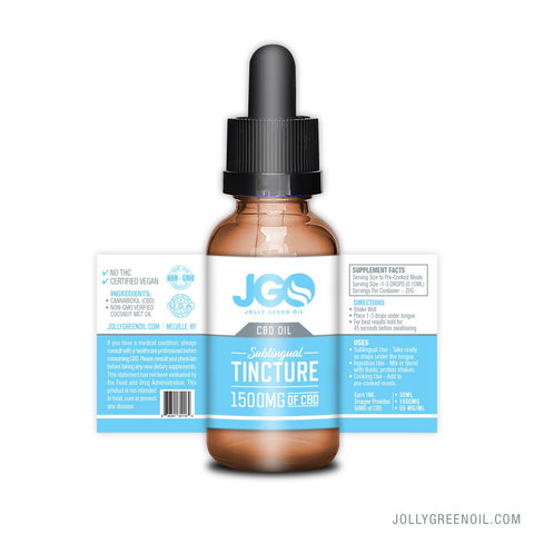 1500mg CBD Sublingual Tincture 30ml - Jolly Green Oil