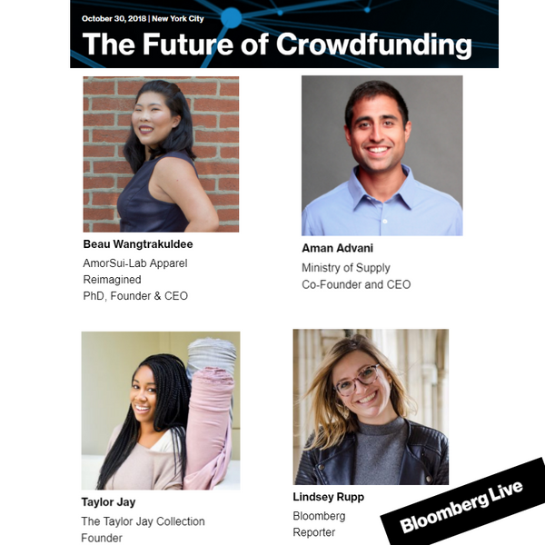 "AmorSui Feature: Bloomberg Live ""The Future of Crowdfunding"""