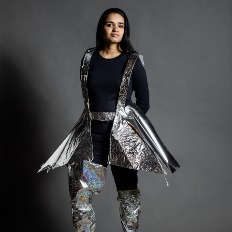 Dhruvi Shah in AmorSui's Dorothy Hodgkin Top and Rosalind Franklin 2.0 Pants
