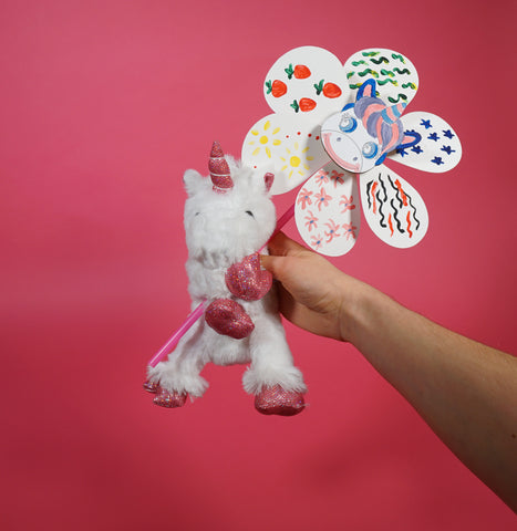 Unicorn plush animal and unicorn pinwheel craft