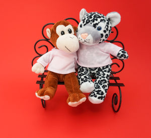 Make a teddy monkey and snow leopard with t-shirt accessory