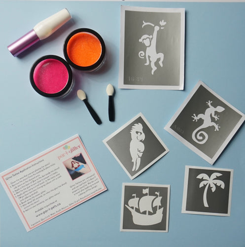 tropical theme temporary glitter tattoo kits