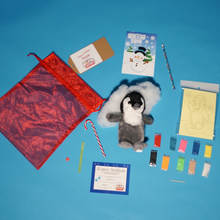 Load image into Gallery viewer, Holiday Penguin Play make a teddy contents