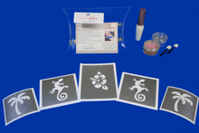 Load image into Gallery viewer, TROPICAL LUAU TEMPORARY GLITTER TATTOO KIT