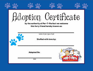 Teddy bear adoption certificate