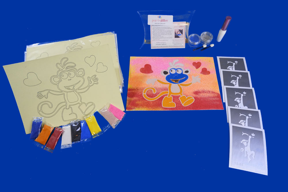 MONKEY DELUXE CRAFT KITS AND GLITTER KIT