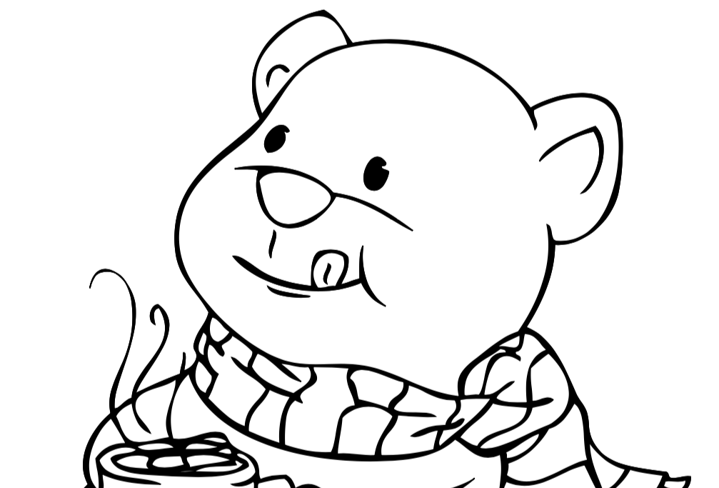 Bear with Cocoa Coloring Sheet - Free Printable