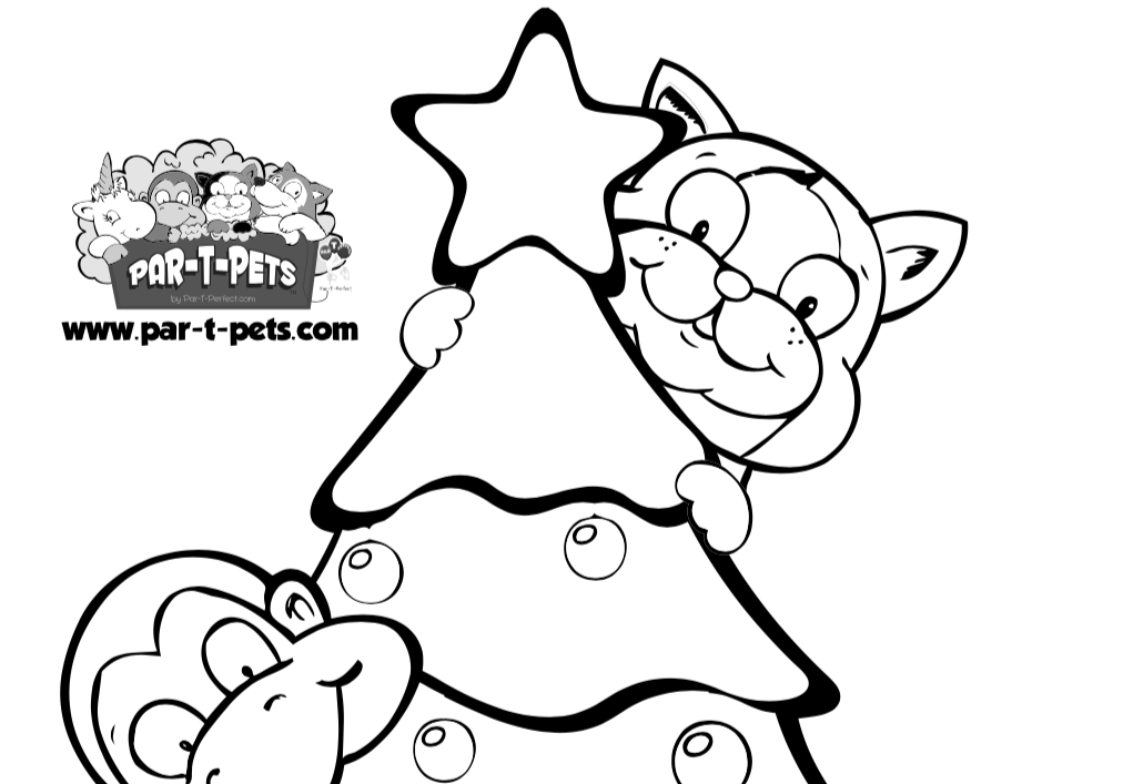 Christmas tree with Cat coloring sheet