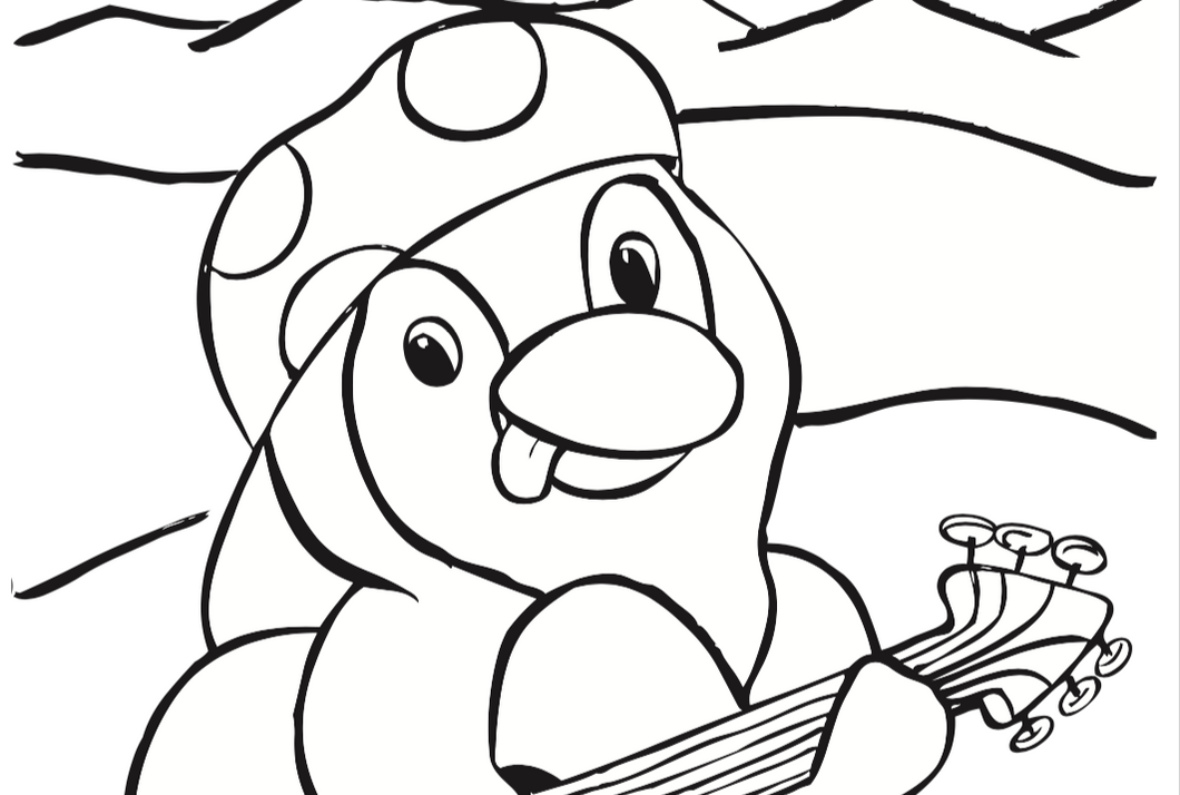 Penguin with Guitar Coloring Sheet - Free Printable