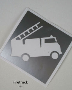 FIRE TRUCK TEMPORARY TATTOO STENCIL
