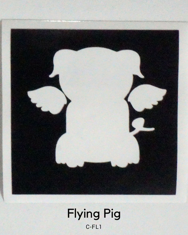 FLYING PIG GLITTER TATTOO STENCIL