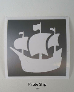 PIRATE SHIP GLITTER TATTOO STENCIL
