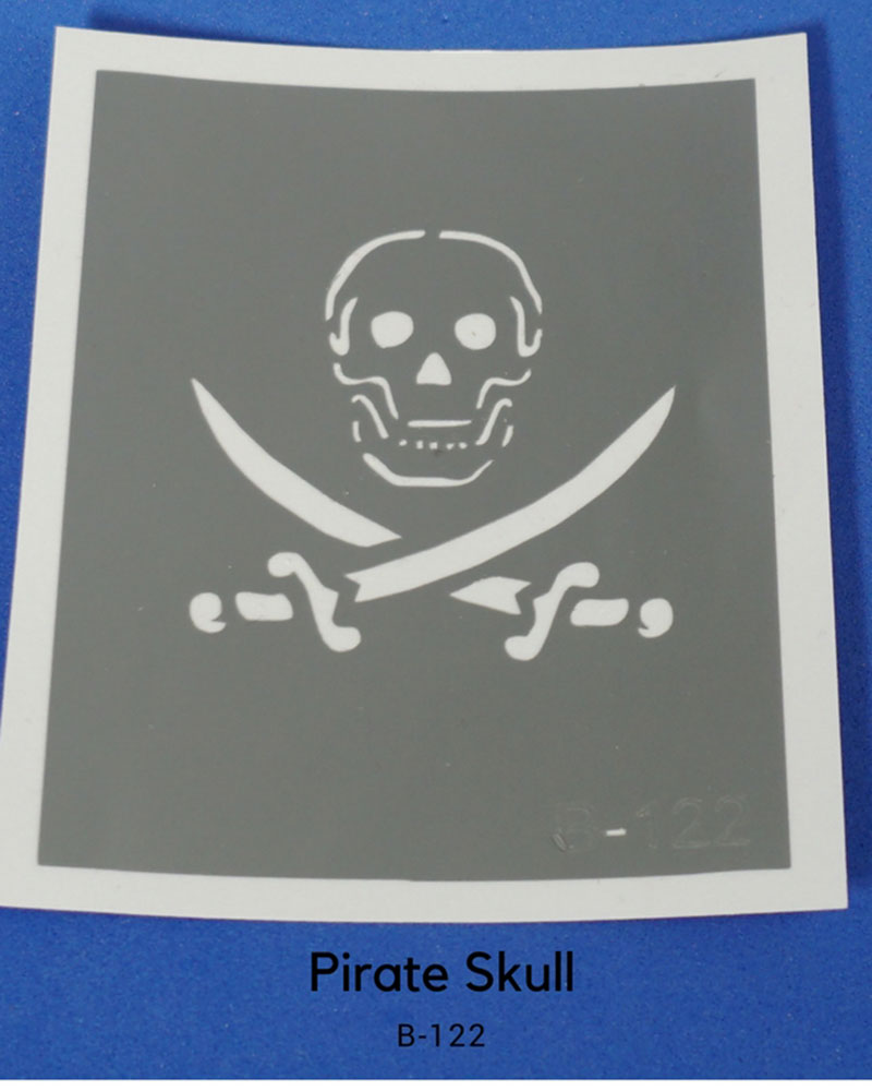 PIRATE SWORD/SKULL GLITTER TATTOO STENCIL