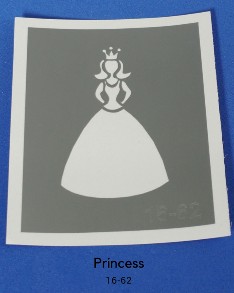 PRINCESS GLITTER TATTOO STENCIL