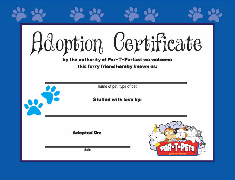 ADOPTION CERTIFICATE TEDDY STUFFING ACCESSORY
