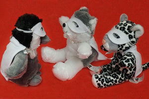 snow leopard husky and penguin stuffy with cape and mask