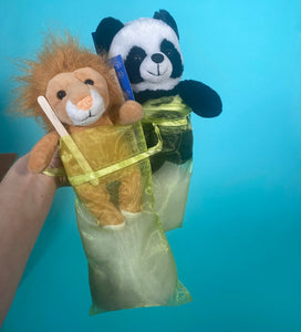 panda and lion teddy making kits for social distancing or virtual birthday party