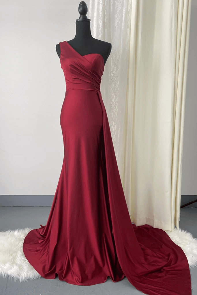 Monostrap One shoulder Evening Bridesmaid Dress with sweetheart neckline and Side train 3