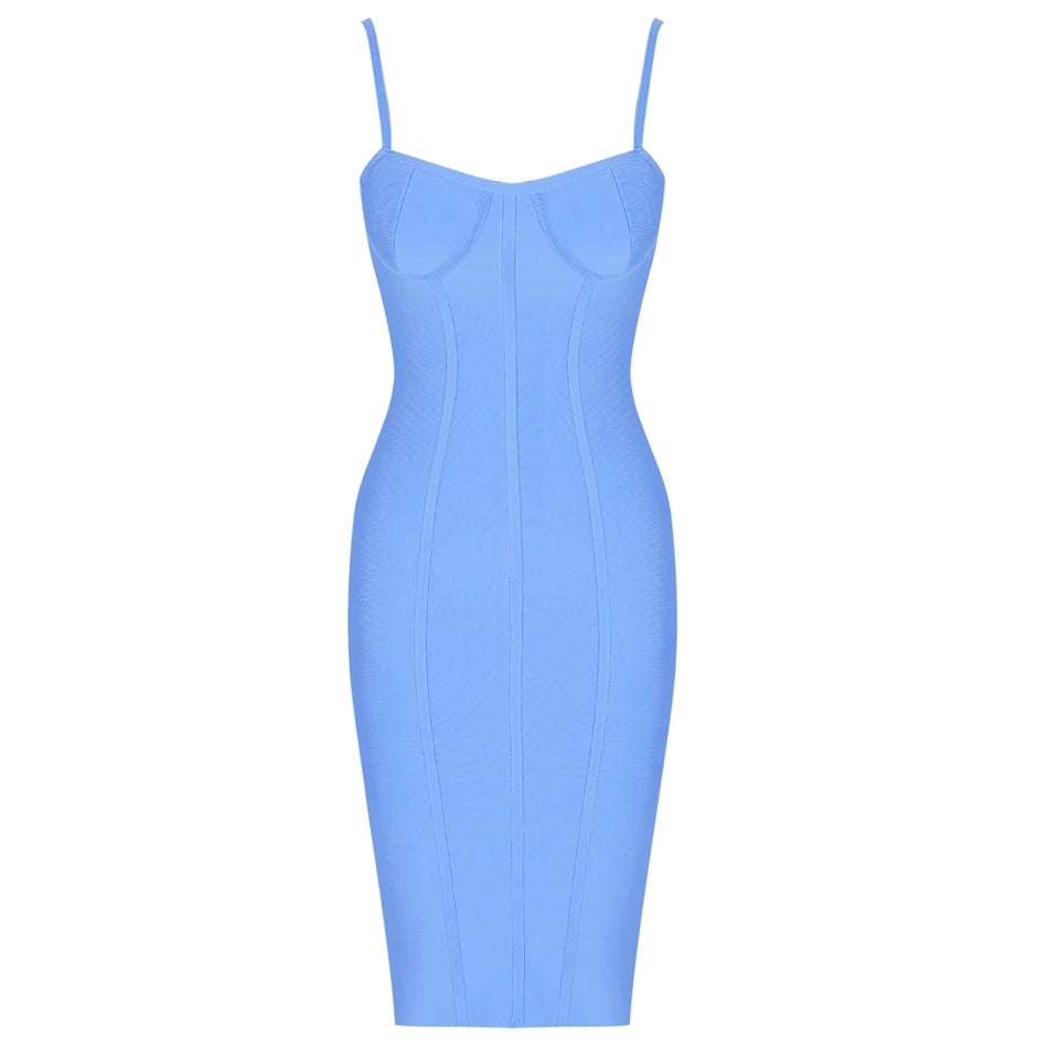 SUSIE Spaghetti Corset style bandage bodycon dress - Baby Blue - DOYIN LONDON