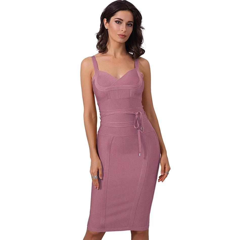 ALICE Spaghetti Tie waist bandage bodycon dress - Rose Pink - DOYIN LONDON