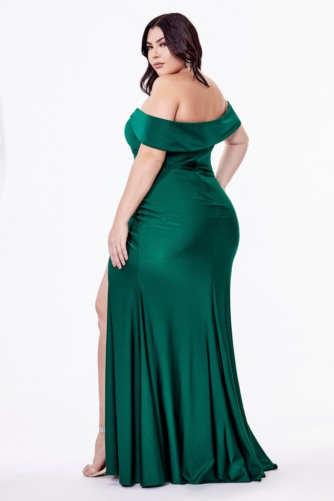 Off the Shoulder Evening Bridesmaid Dress with Side Slits and Ruched Waist 2