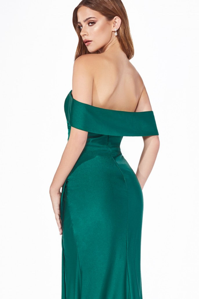 Off the Shoulder Evening Bridesmaid Dress with Side Slits and Ruched Waist 5