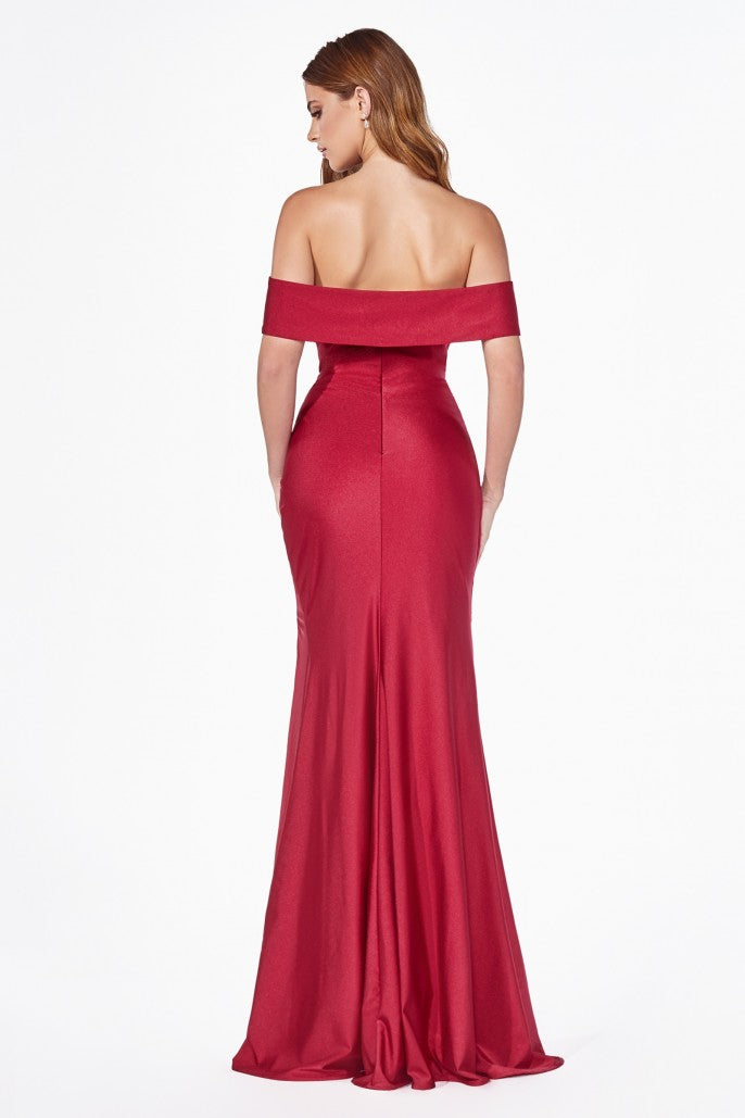 Off the Shoulder Evening Bridesmaid Dress with Side Slits and Ruched Waist 4