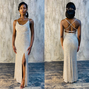 The PEARL Dress - Champagne - DOYIN LONDON