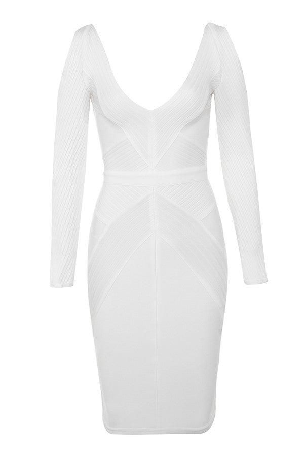 Cut out cold shoulder Midi bandage bodycon dress - White - DOYIN LONDON