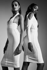 Charger l'image dans la galerie, Cut out cold shoulder Midi bandage bodycon dress - White - DOYIN LONDON