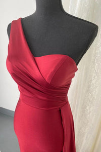 Monostrap One shoulder Evening Bridesmaid Dress with sweetheart neckline and Side train 2