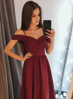 Burgundy Prom Dress Long Off The Shoulder Straps, Graduation School Party Gown, Sweet 16 Dance Dress, Winter Formal Dress, DT0001
