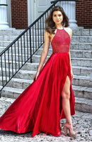 Sexy Red Prom Dress with Slit, Graduation School Party Gown, Winter Formal Dress, DT0008