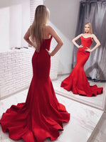 Mermaid Red Prom Dress, Pageant Dress, Evening Dress, Dance Dresses, Graduation School Party Gown, DT0583