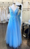 Light Blue Prom Dress, Pageant Dress, Evening Dress, Dance Dresses, Graduation School Party Gown, DT0584