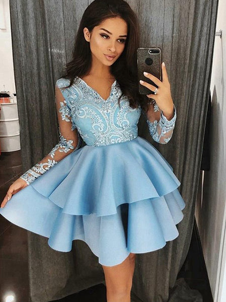 Light Blue Short Prom Dress, Homecoming Dresses,