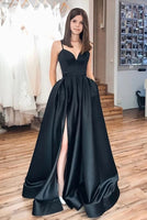 Black Prom Dress with Slit, Pageant Dress, Evening Dress, Dance Dresses, Graduation School Party Gown, DT0581