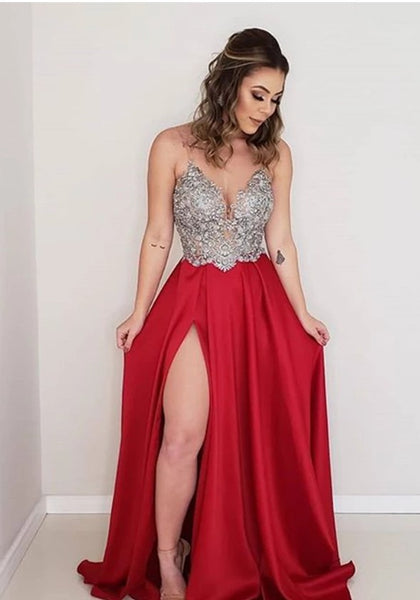 New Style Prom Dress with Slit, Pageant Dress, Evening Dress, Dance Dresses, Graduation School Party Gown, DT0540