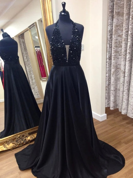 Black Prom Dress Halter Neckline, Pageant Dress, Evening Dress, Dance Dresses, Graduation School Party Gown, DT0538