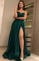 Satin Green Prom Dress with Slit, Pageant Dress, Evening Dress, Dance Dresses, Graduation School Party Gown, DT0532