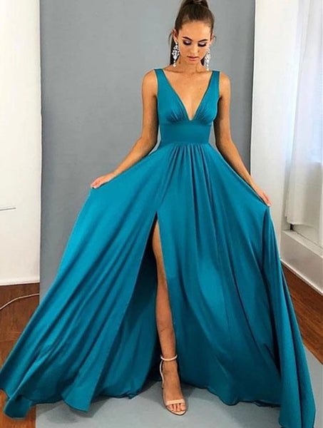 Prom Dress with Slit, Pageant Dress, Evening Dress, Dance Dresses, Graduation School Party Gown, DT0531