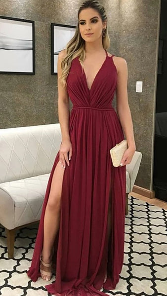 Prom Dress with Slit, Pageant Dress, Evening Dress, Dance Dresses, Graduation School Party Gown, DT0530