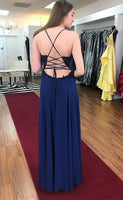 Backless Navy Prom Dress with Slit, Pageant Dress, Evening Dress, Dance Dresses, Graduation School Party Gown, DT0529