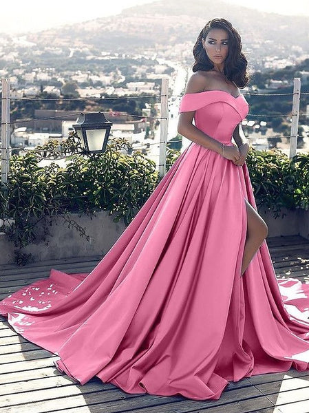 Pink Ball Gown Off The Shoulder Straps, Prom Dresses, Evening Dress, Formal Dresses, Graduation School Party Dance Dress, DT0379